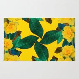 GREEN LEAF ART & YELLOW ROSE FLOWERS  DESIGN Rug