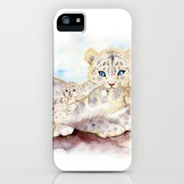 Snow leopard family iPhone Case