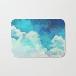 Absract Watercolor Clouds Bath Mat