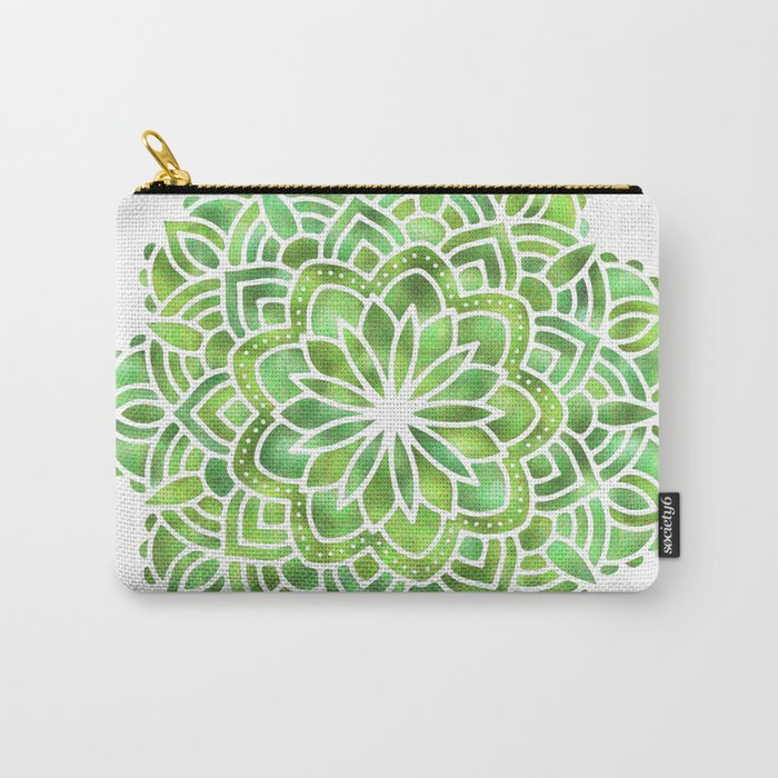 Mandala Green Leaves Carry-All Pouch