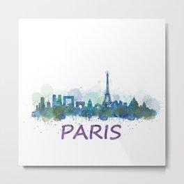 Paris City Skyline HQ Metal Print