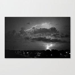 Electric Pretzel - Black & White Canvas Print
