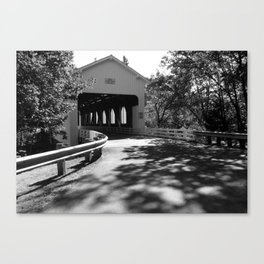 Covered Bridge in Black and White Canvas Print
