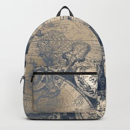 Antique World Map White Gold Navy Blue by Nature Magick Backpack