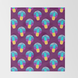 Vaporwave pineapples. Maroon background. Throw Blanket