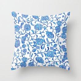 Blue Flowers on White by Fanitsa Petrou Throw Pillow