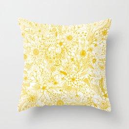 Yellow Floral Doodles Throw Pillow