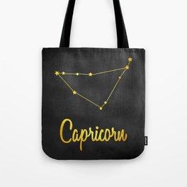 Capricorn Zodiac Constellation in gold Tote Bag