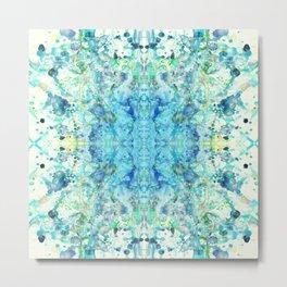Aqua & Mint Symmetrical Watercolor Abstract Metal Print