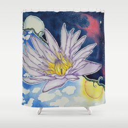 Night and Day Water Lily Shower Curtain