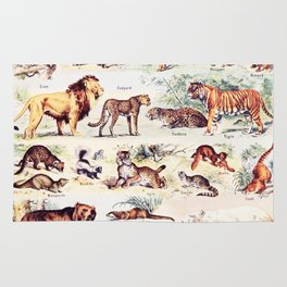 Vintage Antique Wildlife Encyclopedia Print Rug