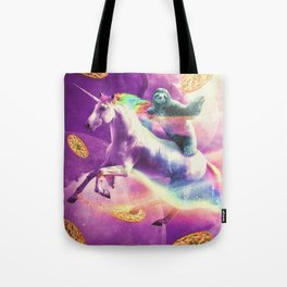 Space Sloth Riding On Flying Unicorn With Pizza Tote Bag