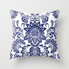 damask blue and white Throw Pillow