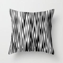 WAVY #1 (Black, White & Grays) Throw Pillow