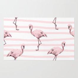 Flamingos on Drawn Stripes in Pink Flamingo Rug
