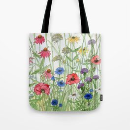 Watercolor of Garden Flower Medley Tote Bag