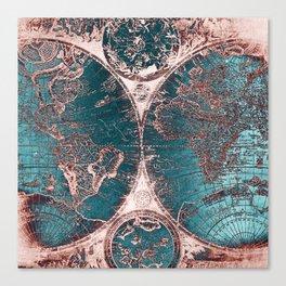 Antique World Map Pink Quartz Teal Blue by Nature Magick Canvas Print
