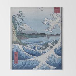 Sea Off Satta - Japanese Woodblock Print by Hiroshige Throw Blanket