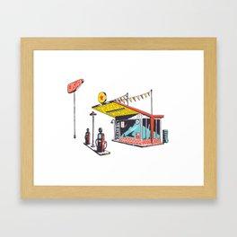 Retro Gas Station Illustration Framed Art Print