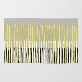 Yellow Rising - abstract stripes in yellow, grey, black & white Rug