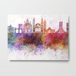 Algiers skyline in watercolor background Metal Print