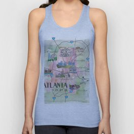 Atlanta Favorite Map with touristic Top Ten Highlights in Colorful Retro Style Unisex Tank Top