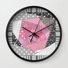 Needlework 1 . Patchwork. Roses. Wall Clock