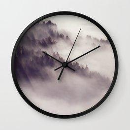 mountainside  fog Wall Clock