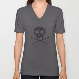 Knitted Skull (White on Black) Unisex V-Neck