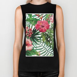Tropical- Hibiscus and fern Biker Tank
