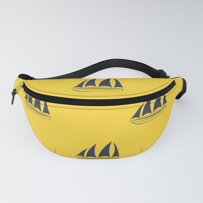 Navy blue Sailboat Pattern on yellow background Fanny Pack