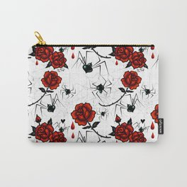 Black Widow Spider with Red Rose Carry-All Pouch