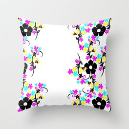 Flowers in CYM Throw Pillow