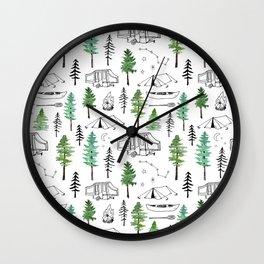 Camping and Trees Wall Clock