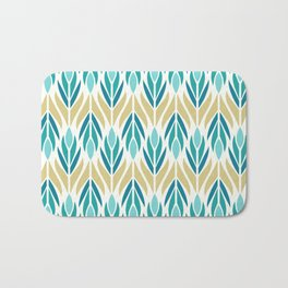 Mid Century Modern Abstract Floral Pattern in Turquoise Teal Aqua and Marigold Bath Mat