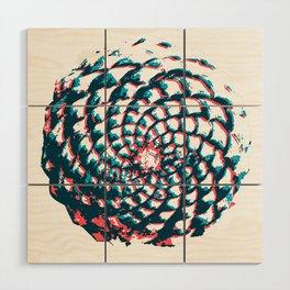pine cone pattern in coral, aqua and indigo Wood Wall Art