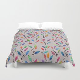 Leafy Twigs - Multicolored on Gray Duvet Cover
