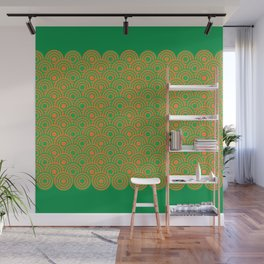 op art pattern retro circles in green and orange Wall Mural