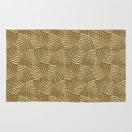 Golden glamour metal swirly surface Rug