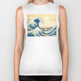 Japanese Woodblock Print The Great Wave of Kanagawa by Katsushika Hokusai Biker Tank