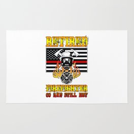 Retired Firefighter 65th Birthday Thin Red Line Flag Rug