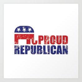Proud Republican Elephant Distressed Tan Art Print