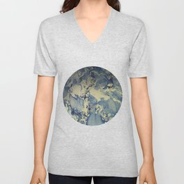 Shadows in Blue and Cream, Marble Unisex V-Neck