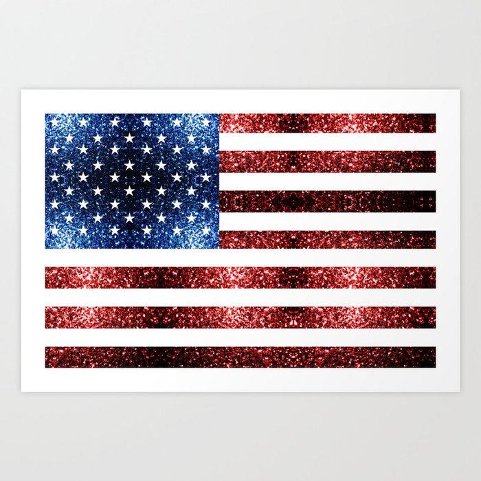USA flag red blue sparkles glitters Art Print