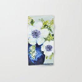 Anemones in vase Hand & Bath Towel