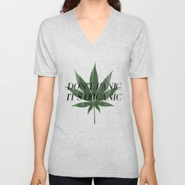 Don't Panic It's Organic Vintage Cannabis Print Unisex V-Neck