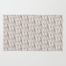 Classic Brown Batik Walang Pattern on White Background Rug