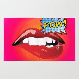 Pow! Sexy lips comics action word Pop Art Rug
