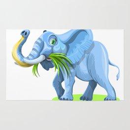 Blue Elephant Cartoon Artwork Rug