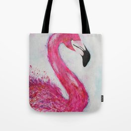 Hot Pink Flamingo vibrant mixed media with watercolor background Tote Bag